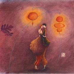 Carte Gaëlle Boissonnard - Les danseurs amoureux - 14x14 cm