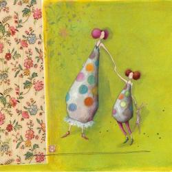 Carte Gaëlle Boissonnard - Mère et fille - 14x14 cm