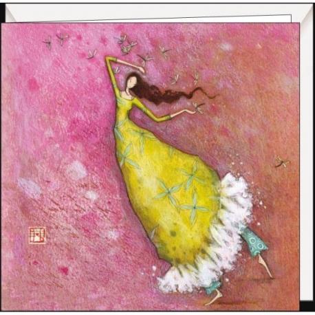 """Carte Gaëlle Boissonnard """"Danseuse aux libellules"""" 16x16 cm"""