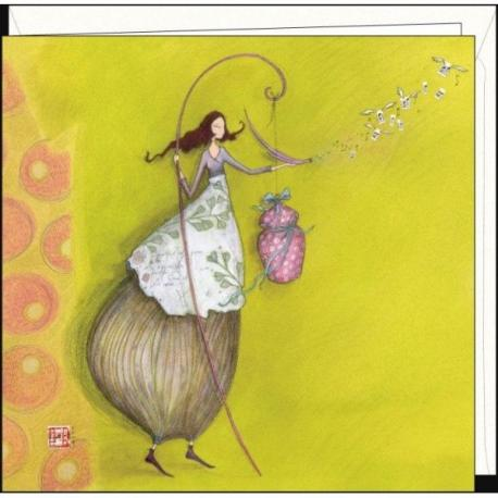 """Carte Gaëlle Boissonnard """"L'oiseau chanteur"""" 16x16 cm"""