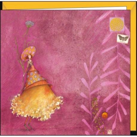 """Carte Gaëlle Boissonnard """"La femme au chapeau à pois"""" 16x16 cm"""
