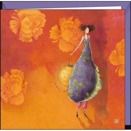 """Carte Gaëlle Boissonnard """"La femme au lampion"""" 16x16 cm"""