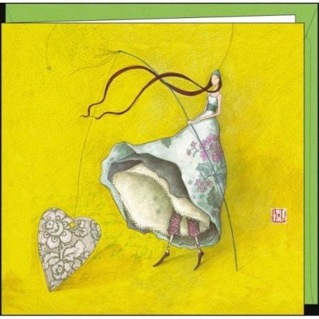 """Carte Gaëlle Boissonnard """"La pêche aux coeurs"""" 16x16 cm"""