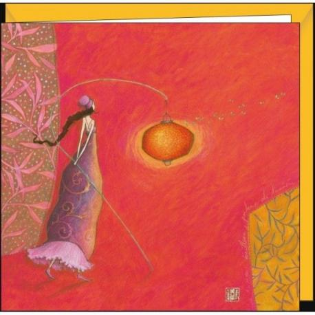 """Carte Gaëlle Boissonnard """"Lampion et papillons de nuit"""" 16x16 cm"""