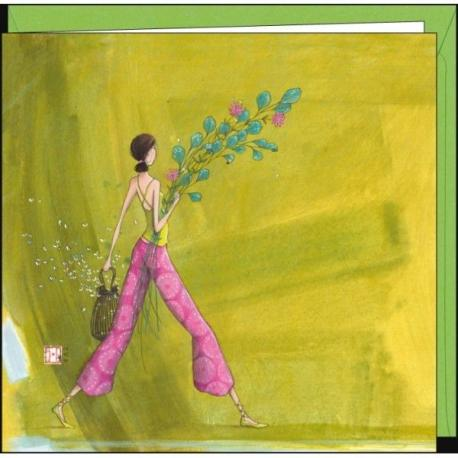 """Carte Gaëlle Boissonnard """"Le bouquet champêtre"""" 16x16 cm"""