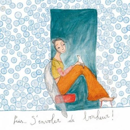 """Carte Anne-Sophie Rutsaert """"Puis...S'envoler de bonheur!"""" 14x14 cm"""