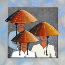 Carte Christine Le Bris Morvan - Famille Vietnamienne Bleue - 14x14 cm
