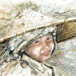 Carte Myriam Fantini - Garçon Vietnamien - 14x14 cm