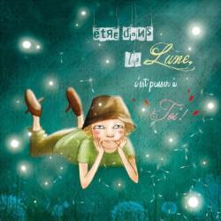 Carte Amélie Thiebaud - Etre dans la lune - 14x14 cm