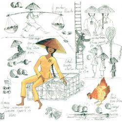 Carte Christine Le Bris Morvan - Marche Volailles - 14x14 cm
