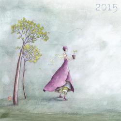 """Calendrier Gaëlle Boissonnard 2015 """"Une pousse d'arbre"""" 30x30 cm"""