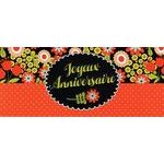 Carte double Ebène - Joyeux anniversaire - Tapis de fleurs - CDEB02 21X9 cm