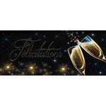 Carte double Ebène - Félicitations - Coupes de champagne - 21X9 cm