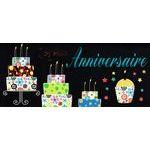 Carte double Ebène - Joyeux anniversaire - Les gâteaux - 21X9 cm