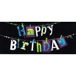 Carte double Ebène - Happy birthday - Sur un fil - 21X9 cm