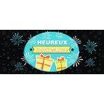 Carte double Ebène - Heureux anniversaire - Feu d'artifice - 21X9 cm