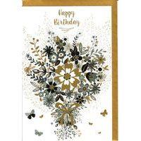 Carte Very Chic - Happy birthday Coeur en fleur - 12x17 cm