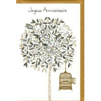 Carte Very Chic - Joyeux anniversaire Cage aux oiseaux - 12x17 cm