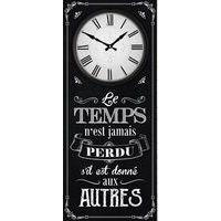 Horloge citation bois - Le temps n'est jamais perdu s'il est donné aux autres... - 70x30 cm