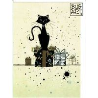 Carte Bug Art - Cat On Gifts - 12x17 cm