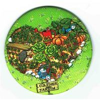 Magnet rond de Christine Donnier ( Titi Pinson ) - Cultiver son jardin - diamètre: 88 mm