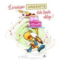 Carte Ze souris folie's - Livraison urgente, date limite oblige... - Carte double 13.7x15.5 cm