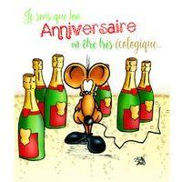 Carte Ze souris folie's - Je sens que ton anniversaire va être très écologique... - Carte double 13.7x15.5 cm