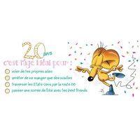 Carte Ze souris folie's - 20 ans, c'est lâge idéal pour... - Carte double 11x26 cm