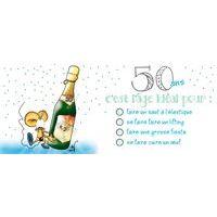 Carte Ze souris folie's - 50 ans, c'est lâge idéal pour... - Carte double 11x26 cm