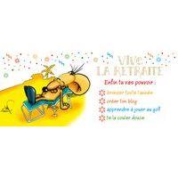 Carte Ze souris folie's - Vive la retraite, enfin tu vas pouvoir... - Carte double 11x26 cm