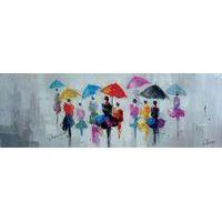 Toile - Scène de vie sous la pluie - 150x50 cm